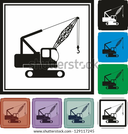 Crane, auto, car, icon, vector