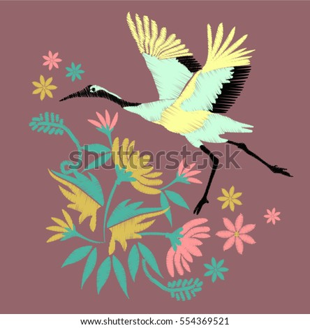 crane bird embroidery design