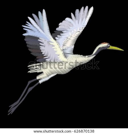 crane bird embroidery   vector  ...
