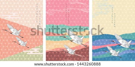 Crane birds with Japanese pattern vector. Geometric background with hand draw wave elements.
