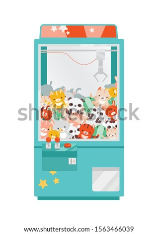 Crane game doll machine flat vector illustration. Claw machine with colorful plush animal toys. Amusement for children, winning prize. Arcade game for kids isolated on white background.