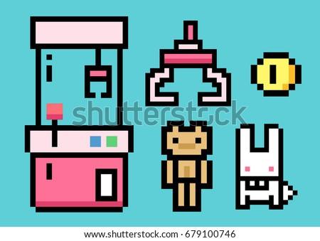 Crane Game Machine and Arcade crane vending machine. - Pixel Art. Elements Design. Illustration and icon.