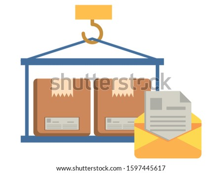 crane hook lifting boxes cartons vector illustration design