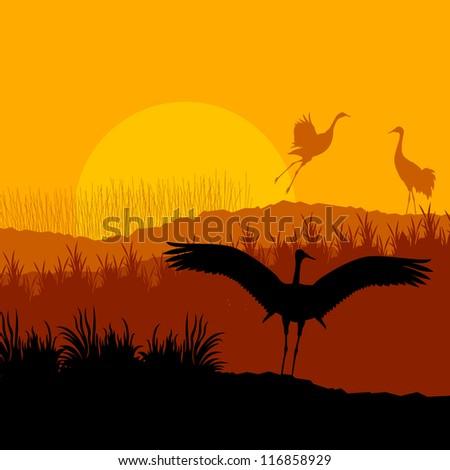 Crane landscape background vector