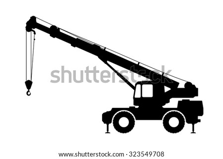 Crane Silhouette On A White Background Vector Illustration