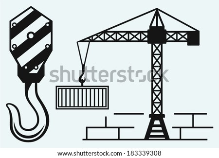 Crane working and hook of a crane