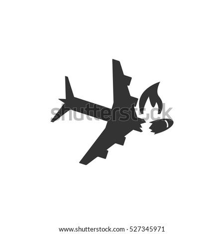 crash plane icon flat