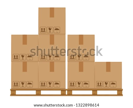 crate boxes eight on wooded pallet, wood pallet with cardboard box in factory warehouse storage, flat style warehouse cardboard parcel boxes stack, packaging cargo, 3d boxes brown isolated on white