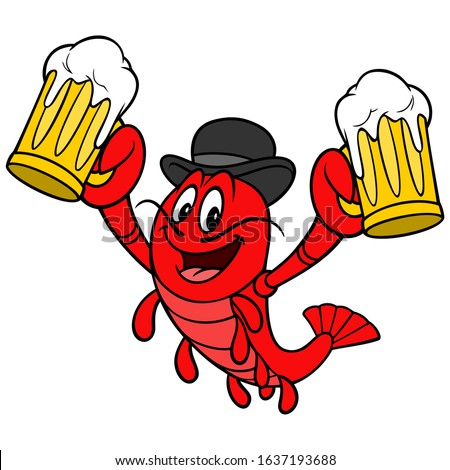 Crawfish Daddy - A cartoon illustration of a Crawfish with a couple of mugs of Beer. ストックフォト ©