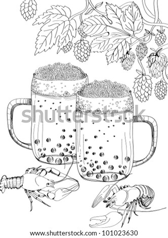Crawfish, hop and beer, vector illustration
