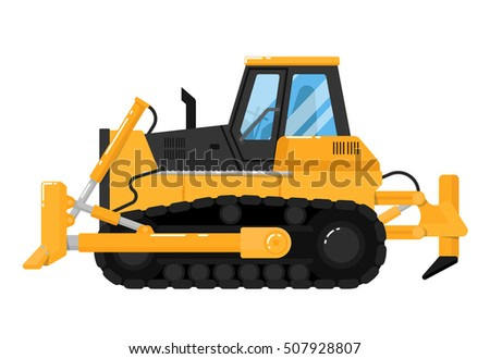 Crawler Bulldozer isolated on white background. Construction digger machine. Modern dozer. Realistic bulldozer vector illustration. Detailed bulldozer icon. Bulldozer side view. Bull dozer truck flat