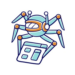 Crawler color icon. Spiderbot. Search engine optimization. Automatic indexer. Content monitoring. Artificial intelligence. Web indexing. Robot software. Isolated vector illustration