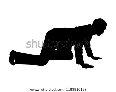 Crawling businessman silhouette on white. Business and finance concept vector.