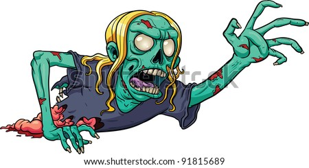 crawling cartoon zombie vector