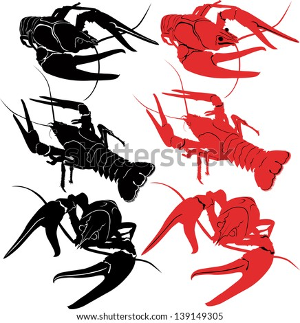 crayfish animals vector
