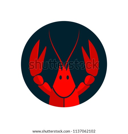 Crayfish logo. Red river lobster, langoustine or crustacean delicacies isolated on white background. Seafood design. Vector illustration ストックフォト ©