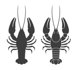 Crayfish silhouette. Isolated crayfish on white background