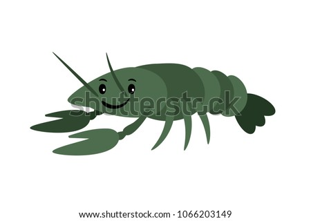 Crayfish. Vector delicacy river lobster, langoustine or spiny lobster or crustacean delicacies isolated on white background
