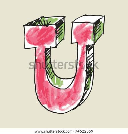 crayon alphabet, hand drawn letter U