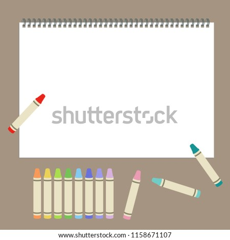 Crayon and sketchbook / vector eps 10 illustration