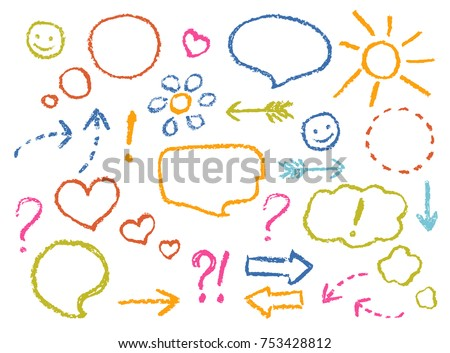 Crayon drawing speech bubbles, arrows, heart shape, smile, sign, symbols funny set. Colorful pastel chalk or pencil like kid`s hand drawn doodle child style sketch design elements, vector.