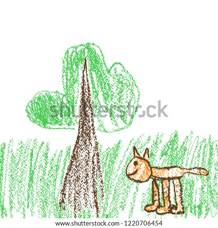 crayon funny red cat and tree