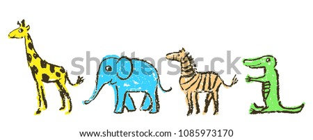 Crayon like kid`s hand drawn wild animals set. Giraffe, elephant, zebra and crocodile isolated on white. Child`s drawn artistic stroke colorful pastel chalk or pencil vector art. Childlike funny style