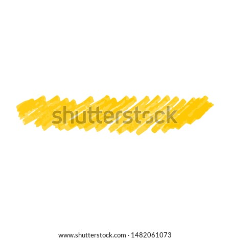 Crayon or paint markers doodle splotches or strokes realistic vector illustration isolated on white background. Hand drawn yellow hatching lines design element.