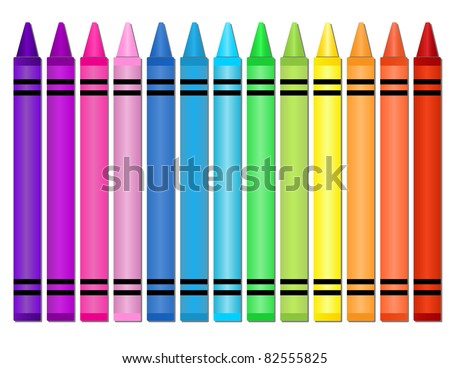 Crayons - Set of crayons displayed in a horizontal spectrum