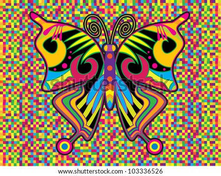 crazy abstract background with hippie butterfly isolated on colorful checkered background