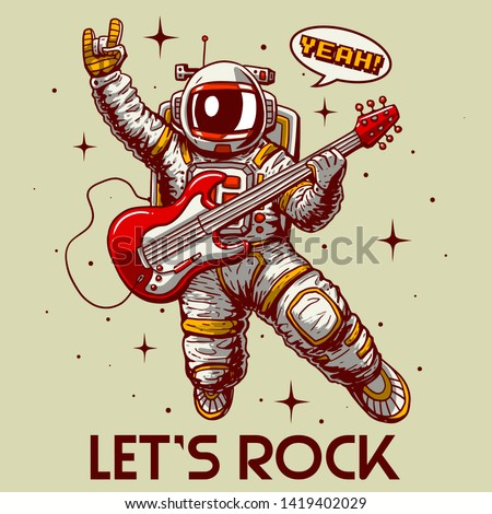 crazy astronaut playing guitar let's rock slogan vector cartoon illustration tee grapic wallpaper poster home textile baby shower pajama print design