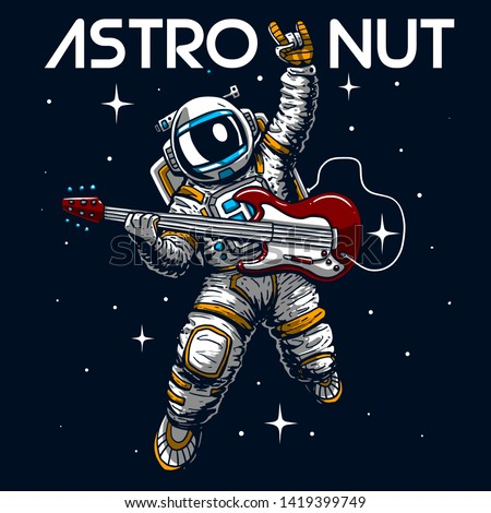 crazy astronaut playing guitar slogan vector cartoon illustration tee grapic wallpaper poster home textile print design