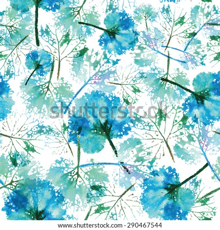 crazy beautiful imprint watercolor pattern of leaves. handmade painted. beautiful seamless texture background imprint.