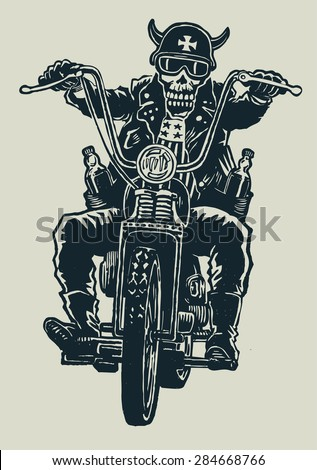 crazy biker skull in motorcycle