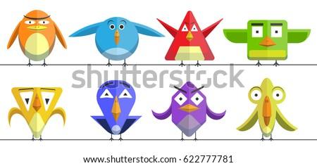 crazy birds set funny