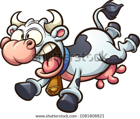 Crazy cartoon cow running scared. Vector clip art illustration with simple gradients. All in a single layer.