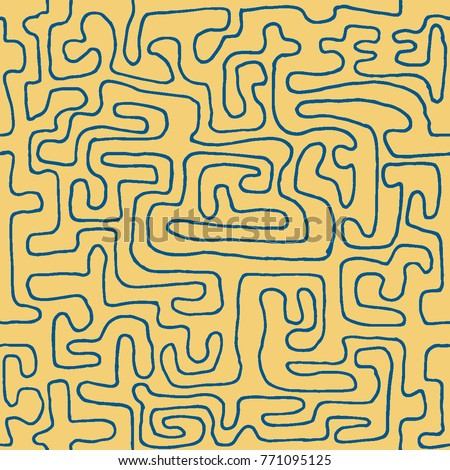 Crazy Cartoon Pattern. Seamless Graffiti Background with Scribbled Tangled Lines, Looking Like Labyrinth. Organic Hippie Style.