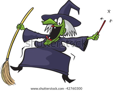 Crazy cartoon witch on broom. Vector file.