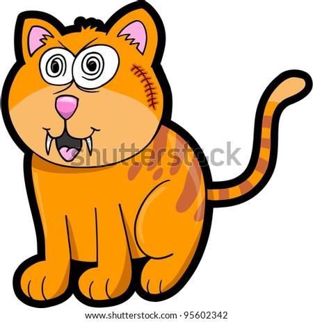 Crazy Cat Kitten Vector Illustration Art Animal Pet