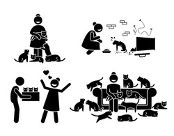 Crazy Cat Lady Stick Figure Pictogram Icons. Illustrations depicts a woman with a lot of cats in her house. She adopts, loves, and feeds stray cats.