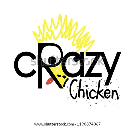 Crazy chicken logo design, isolated on white background for business visual identity. Scalable design. Vector template eps 8