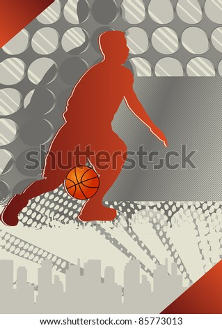Crazy Circle Basketball Poster. Vector Illustration.