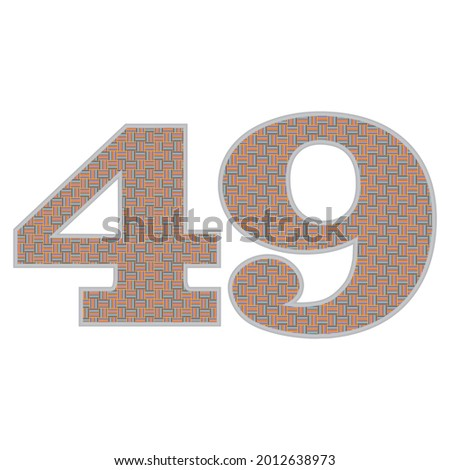 crazy colorful number 49 vector