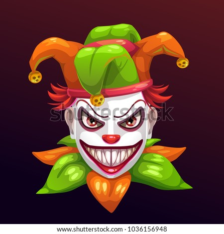 Crazy creepy joker face. Angry clown with evil smile on the face. Isolated on black.