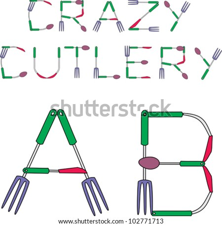 Crazy Cutlery Alphabet With Knife Fork And Spoon Bent Into