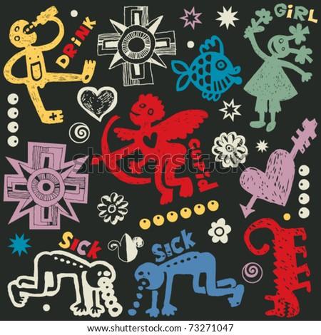 crazy doodle set  hand drawn