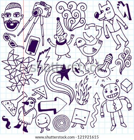 Crazy doodle set. School notebook. Vector illustration.