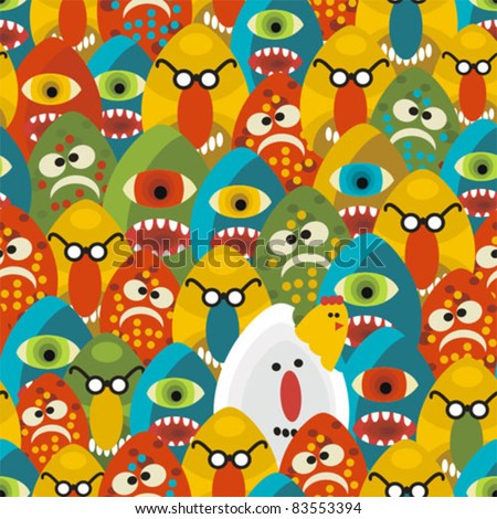 Crazy eggs monsters seamless pattern. Vector texture for your background.