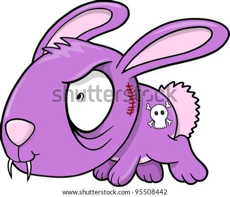 Crazy Evil Bunny Rabbit Animal Vector Illustration Art