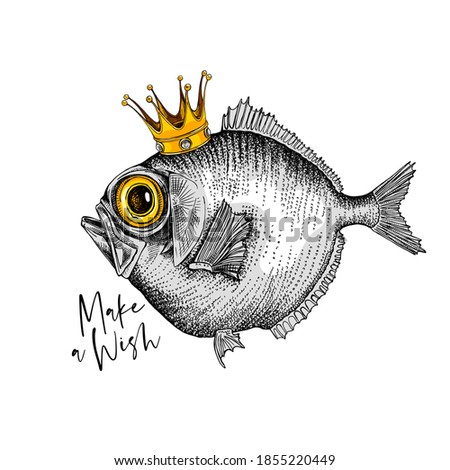 Crazy fish in the gold crown. Humor card, t-shirt composition, hand drawn style print. Vector illustration. Stockfoto ©
